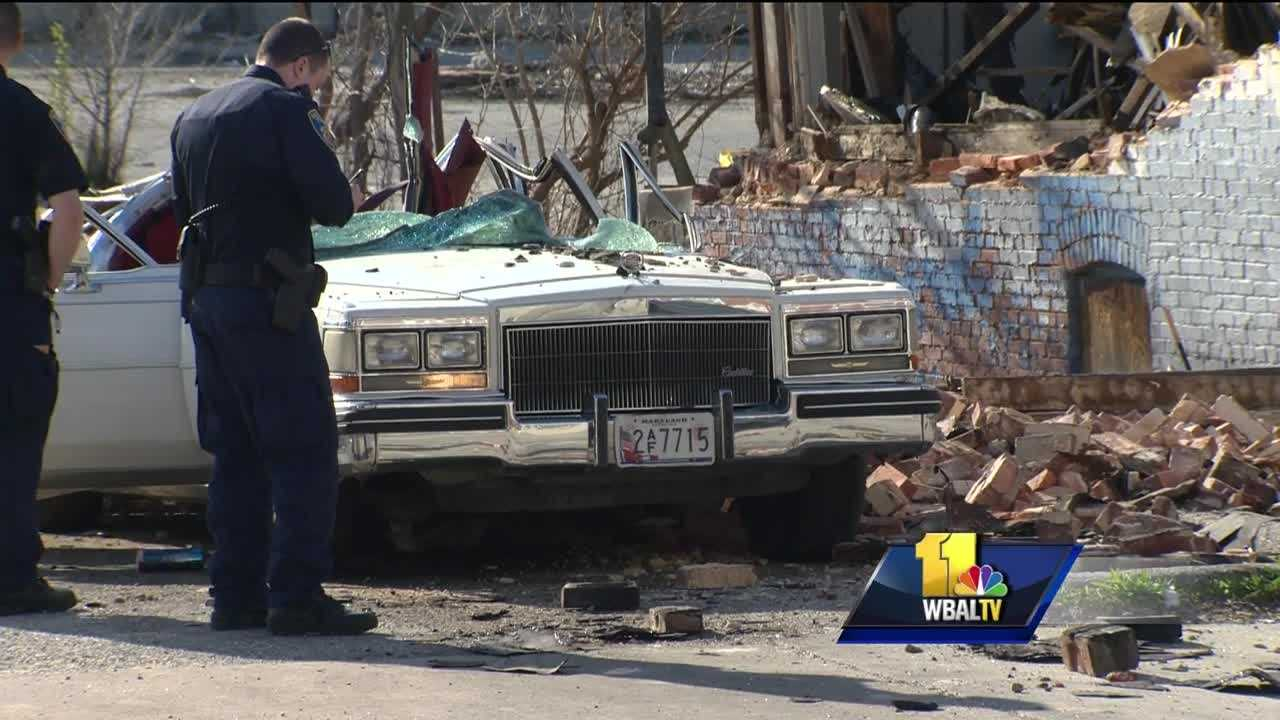 A cellphone video captures the frantic moments after a building collapsed on a car Monday in Baltimore City. The man who was inside that car, Thomas Lemmon, 69, died on Monday, city police said.