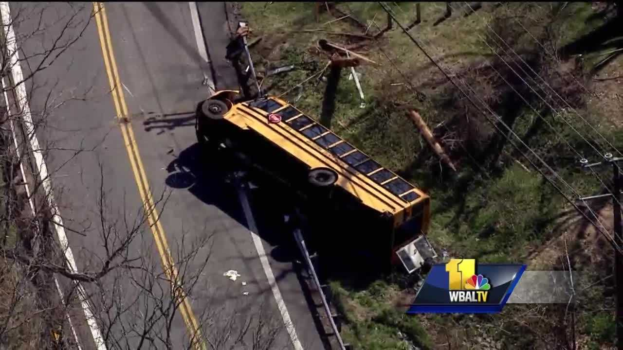 Dozens of students were injured in school bus crash in Baltimore County, officials said. Crews were called at 2:36 p.m. Wednesday to the scene of York Road in the area of Bunker Hill to a crash involving an overturned school bus carrying students from Hereford Middle and High schools. In all nine students and the bus driver were taken to the hospital.