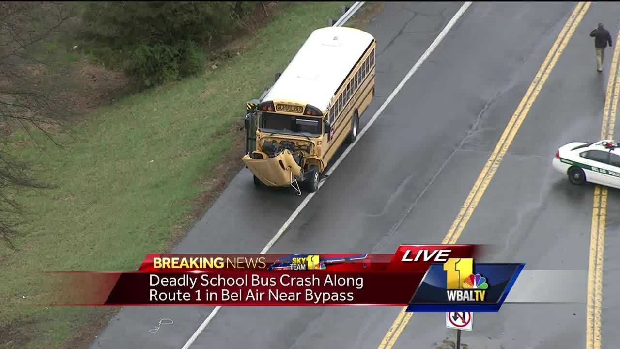 One person has been killed in a two-vehicle crash involving a school bus in Harford County, officials said. The crash involving a school bus and another vehicle happened at Route 1 at Winters Run Thursday morning.The person who was killed is believed to be in the vehicle, SkyTeam 11 Capt. Roy Taylor reported.