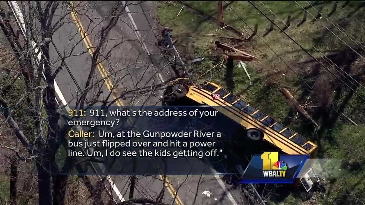 Baltimore County police released the 911 calls that came after a school bus crashed Wednesday in Parkton. The bus had 42 students and a bus driver on board at the time of the accident. The driver, along with nine students were taken to the hospital for treatment.