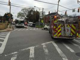 Multiple people were taken to the hospital Monday morning after a three-vehicle accident involving an MTA bus,