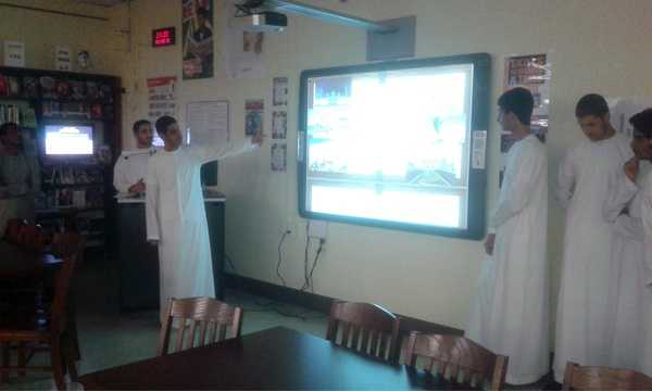 "Emirati students gave a presentation to fellow students during their visit to Loch Raven High School. ""The students at Loch Raven High School were welcoming and made us feel comfortable even though we were wearing our kandoora (traditional dress) which is uncommon,"" one Emirati student said."