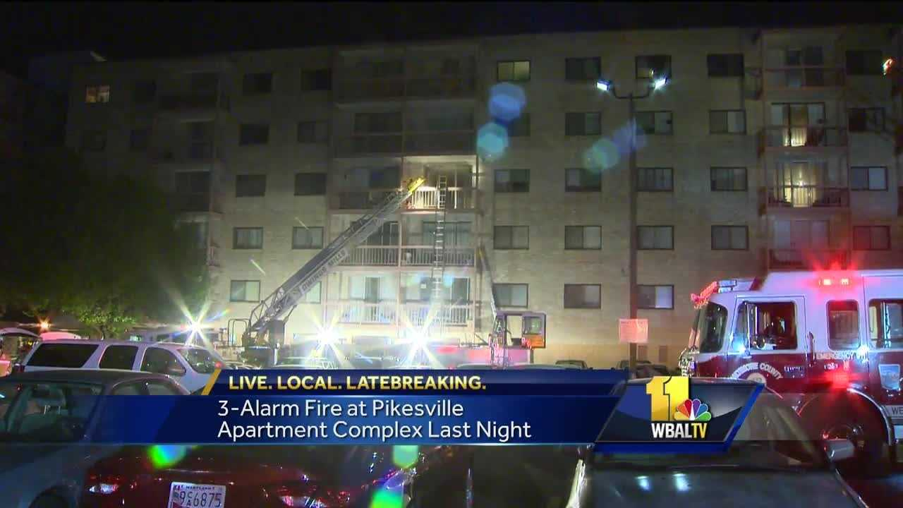 A three-alarm fire Tuesday evening in a Pikesville high rise forced Baltimore County  residents to shelter in place on the upper floors of the building.