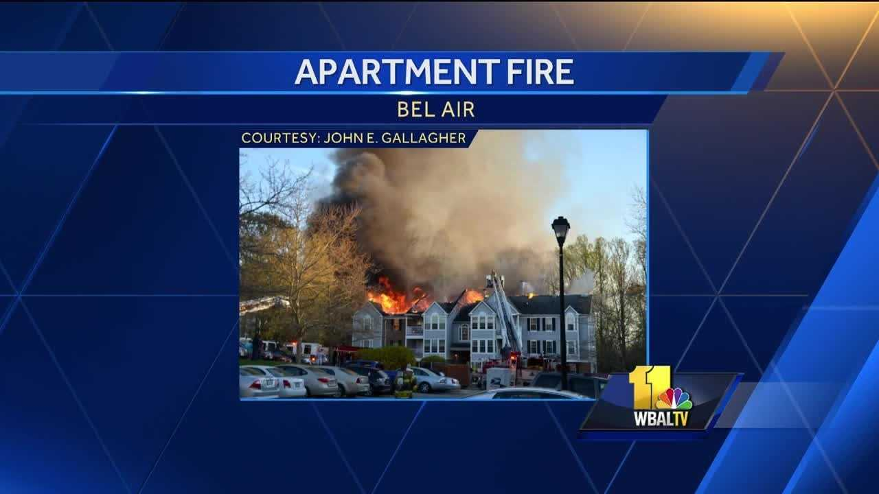 Eleven families were displaced after a two-alarm condominium fire Tuesday in Bel Air.