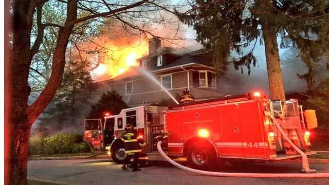 Firefighters battled a two-alarm fire Friday morning in Roland Park. City fire officials said the fire was reported around 6 a.m. in the 100 block of Longwood Road.