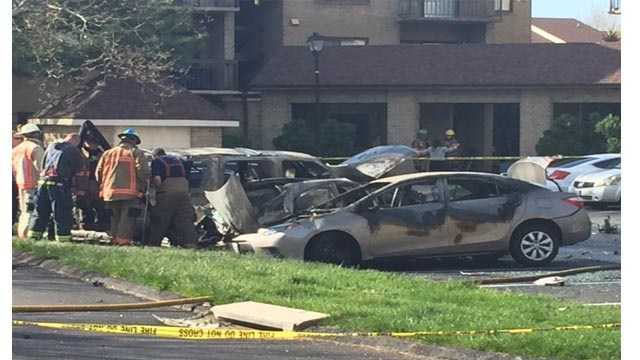 One person was injured after a multiple vehicle fire Monday morning on Harness Court in Pikesville.
