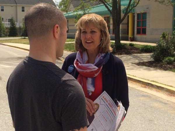 Republican Senate hopeful Kathy Szeliga talks to voters on Election Day.