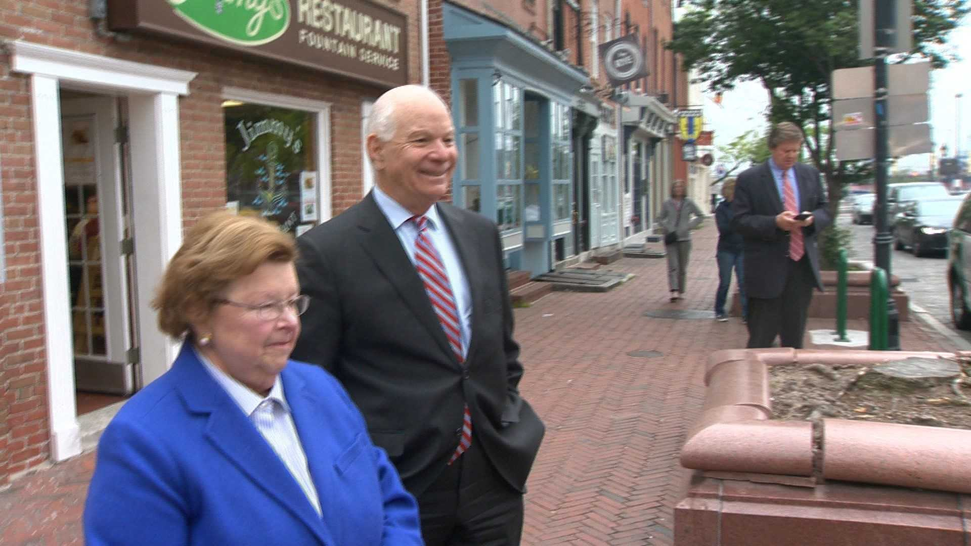 Maryland U.S. Sens. Barbara Mikulski and Ben Cardin address the media outside Jimmy's in Fells Point.