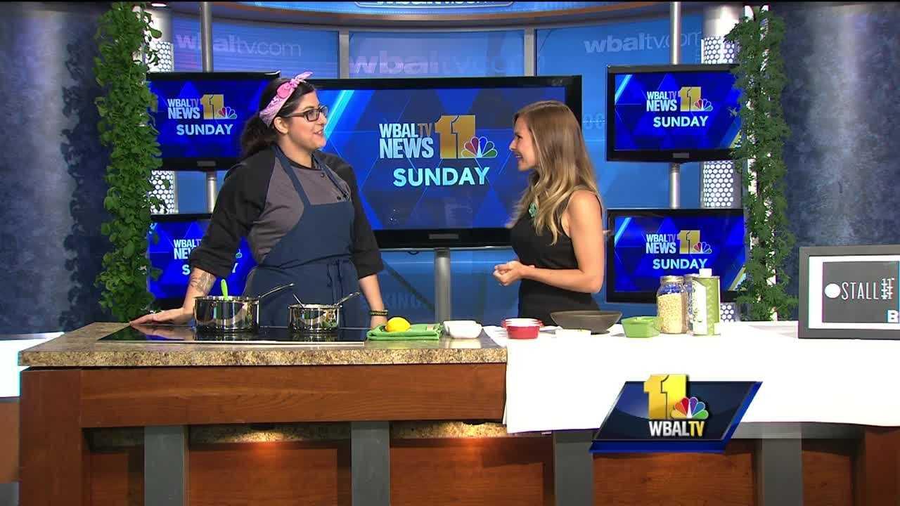 Melanie Molinaro with Stall 11 makes oat porridge and a wild mushroom ragout.