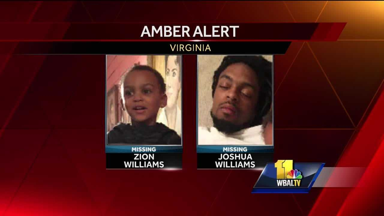 Police there have issued an Amber alert for a 3-year-old Virginia boy and law enforcement officials are asking residents in Maryland to be on the lookout. While Zion Clinton Amir Williams was taken in northern Virginia, alerts also went out in Frederick, Montgomery and Prince George's counties.