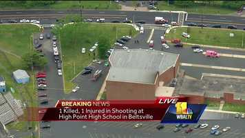 A woman is dead and another is injured Thursday afternoon in a shooting at a Prince George's County school. Authorities received reports around 4:40 p.m. of a shooting outside High Point High School in Beltsville. A woman was pronounced dead and the injured victim was taken to a hospital. A preliminary investigation indicates this appears to be a domestic-related shooting, according to police.