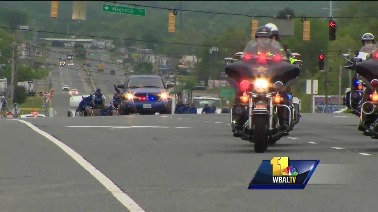 A group of law enforcement officers in the middle of a four-day, 280-mile bike ride from Philadelphia to Washington, D.C., made a special stop Wednesday in Harford County. The officers, a combination of men and women who were both active and retired, are on a unity tour in honor of those killed in the line of duty.