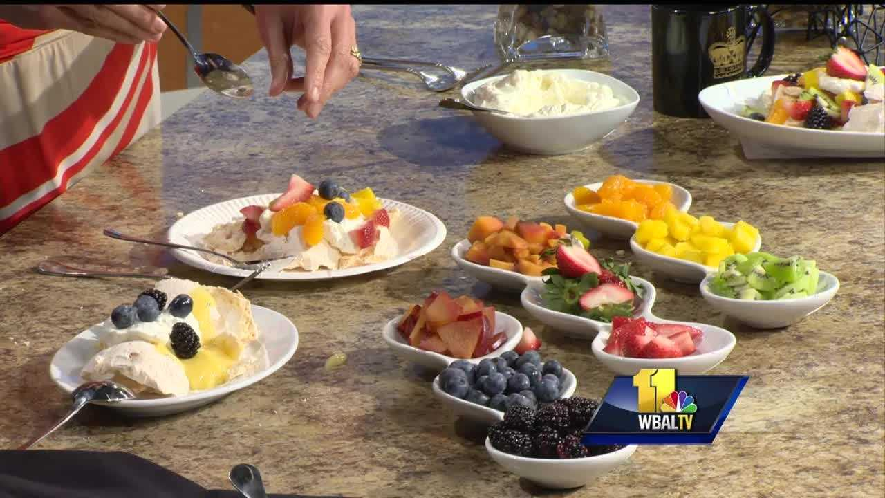 Maryl Elizabeth Plovanich, executive pastry chef at the Lord Baltimore Hotel, shows how to make Pavlova Nouveau.