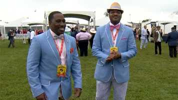 Baltimore police Director T.J. Smith and Sgt. Jarron Jackson sportin' their Preakness fashion