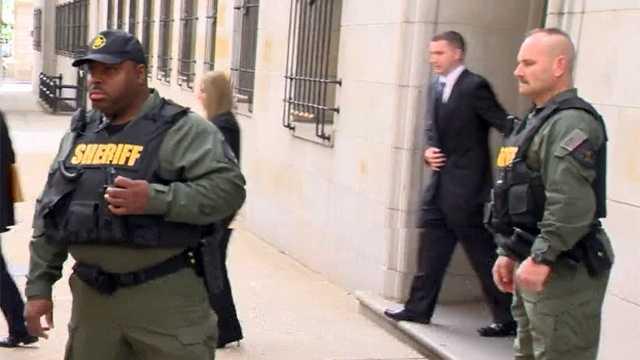 Officer Edward Nero leaves court