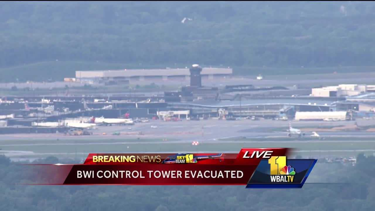 All flights in and out of BWI Thurgood Marshall Airport were suspended briefly Tuesday morning after the air traffic control tower was evacuated for a fire alarm.