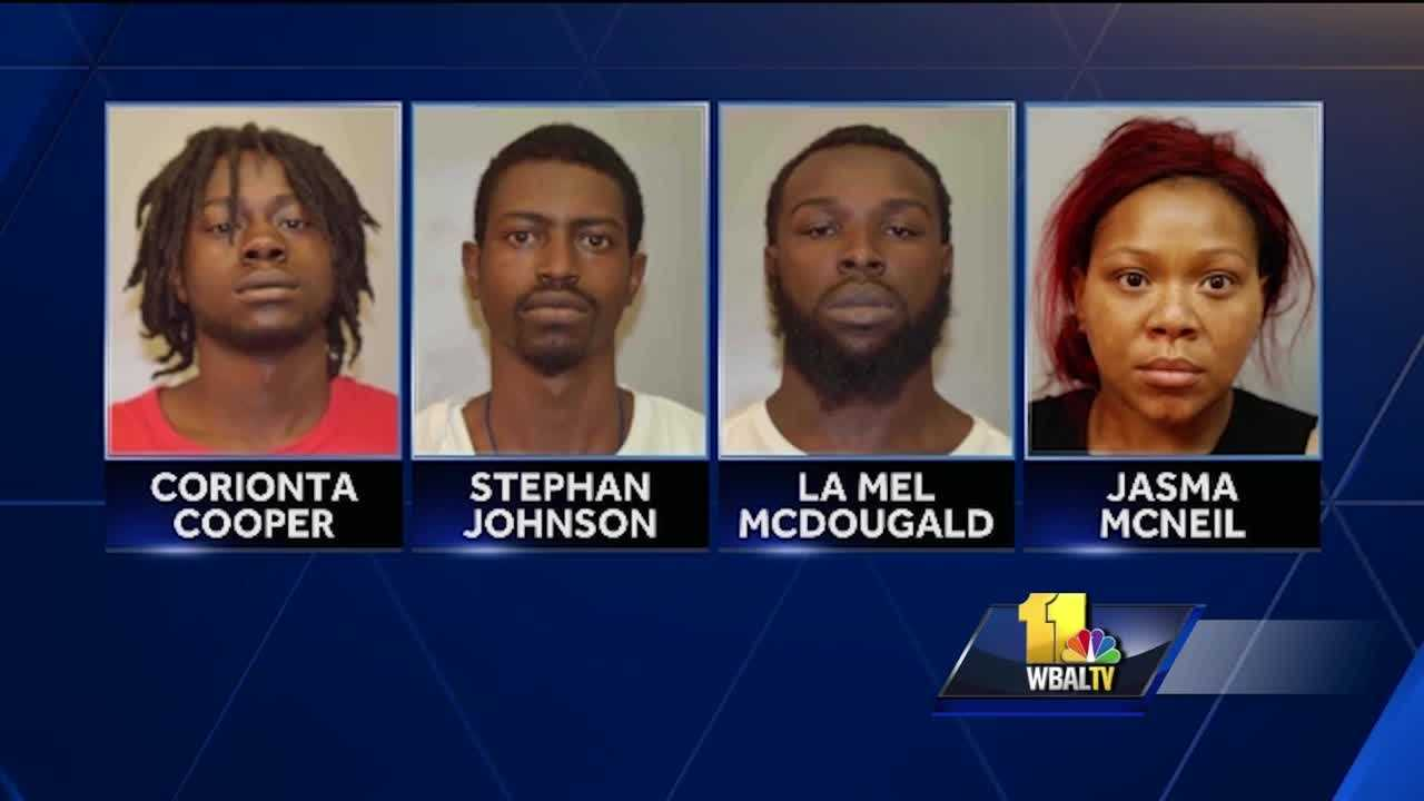 Four people from North Carolina were arrested and charged Sunday in connection with an ATM fraud investigation in Annapolis. Annapolis police said officers responded at 12:45 p.m. to a USAA bank in the 100 block of Prince George Street to investigate a report of suspicious activity at an ATM. Bank employees told police that over the last couple of days, several people used the ATM to make multiple transactions that appeared to be fraudulent.