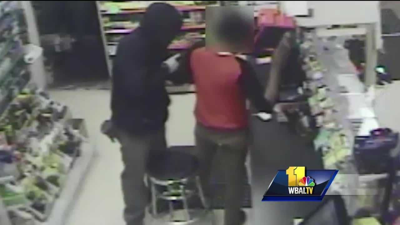 Howard County police need help to find two armed robbers responsible for a violent encounter in Laurel. County police released surveillance video from a robbery around 2:30 a.m. May 23 at the Shell gas station on All Saints Road in Laurel. The video shows two men in masks enter a gas station and hold a gun to the clerk's head before tying him up on the floor and stealing cigarettes and money.