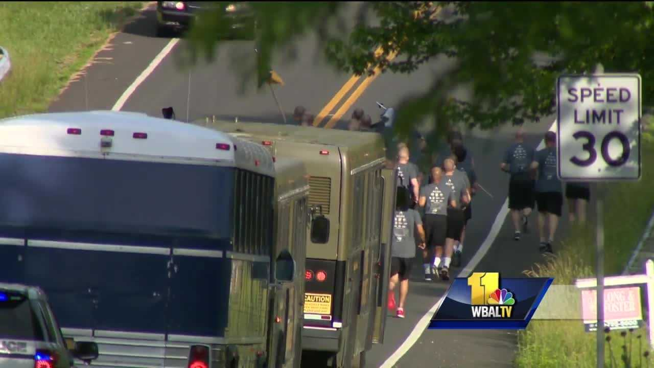 Law enforcement officers in Carroll County spend the morning on the road for the Torch Run to benefit Special Olympics Maryland.