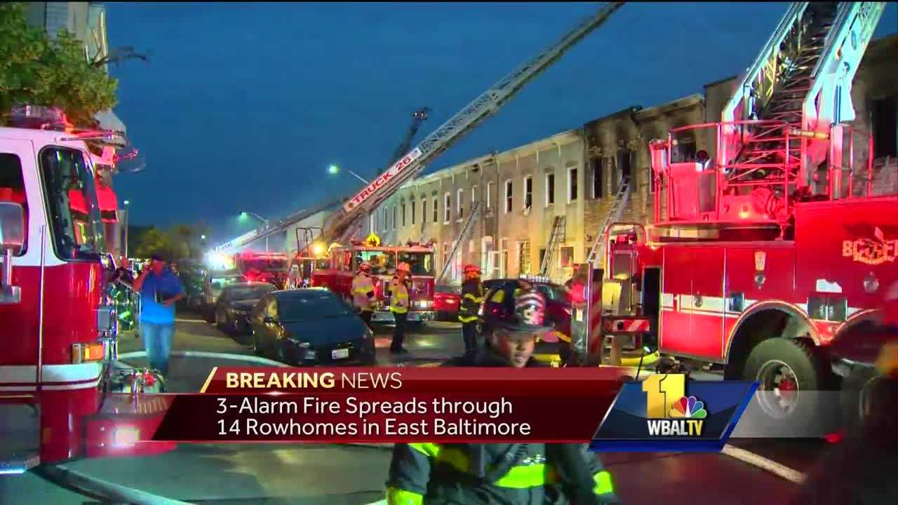 Fourteen families were displaced after a three-alarm fire Tuesday in Highlandtown. City fire crews responded at 3:45 a.m. to the 100 block of South Eaton Street in east Baltimore. The fire was under control by 5:30 a.m. There were no injuries reported and the cause of the fire remains under investigation.