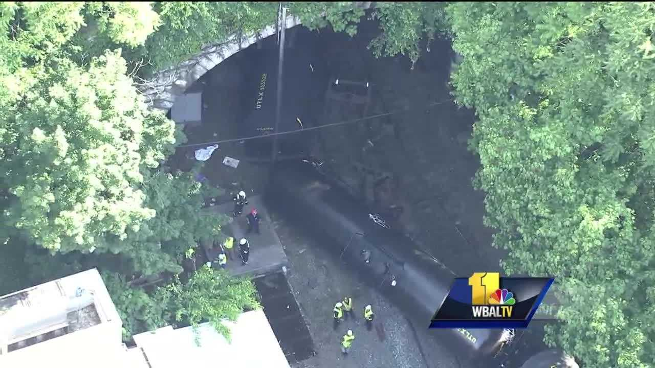 A portion of a train carrying some hazardous materials derailed early Monday in Baltimore. A CSX spokesman said the derailment occurred at about 5:45 a.m. inside the Howard Street tunnel in Baltimore. The train was carrying hazardous material, but there are no apparent leaks, CSX said.