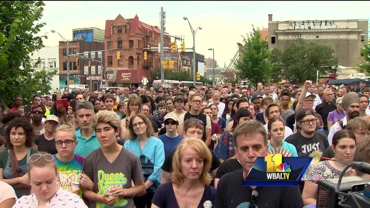 Baltimore's LGBT community gathered Monday for a vigil to reflect and remember after Sunday's mass shooting in Orlando.
