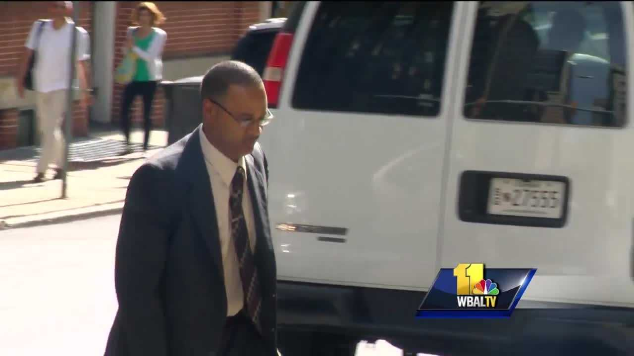 Officer Caesar Goodson enters court on the fourth day of his trial on charges connected to the death of Freddie Gray