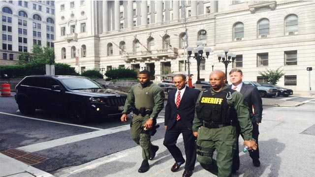Officer Caesar Goodson arrives to court prior to the start of day 7 of his trial.