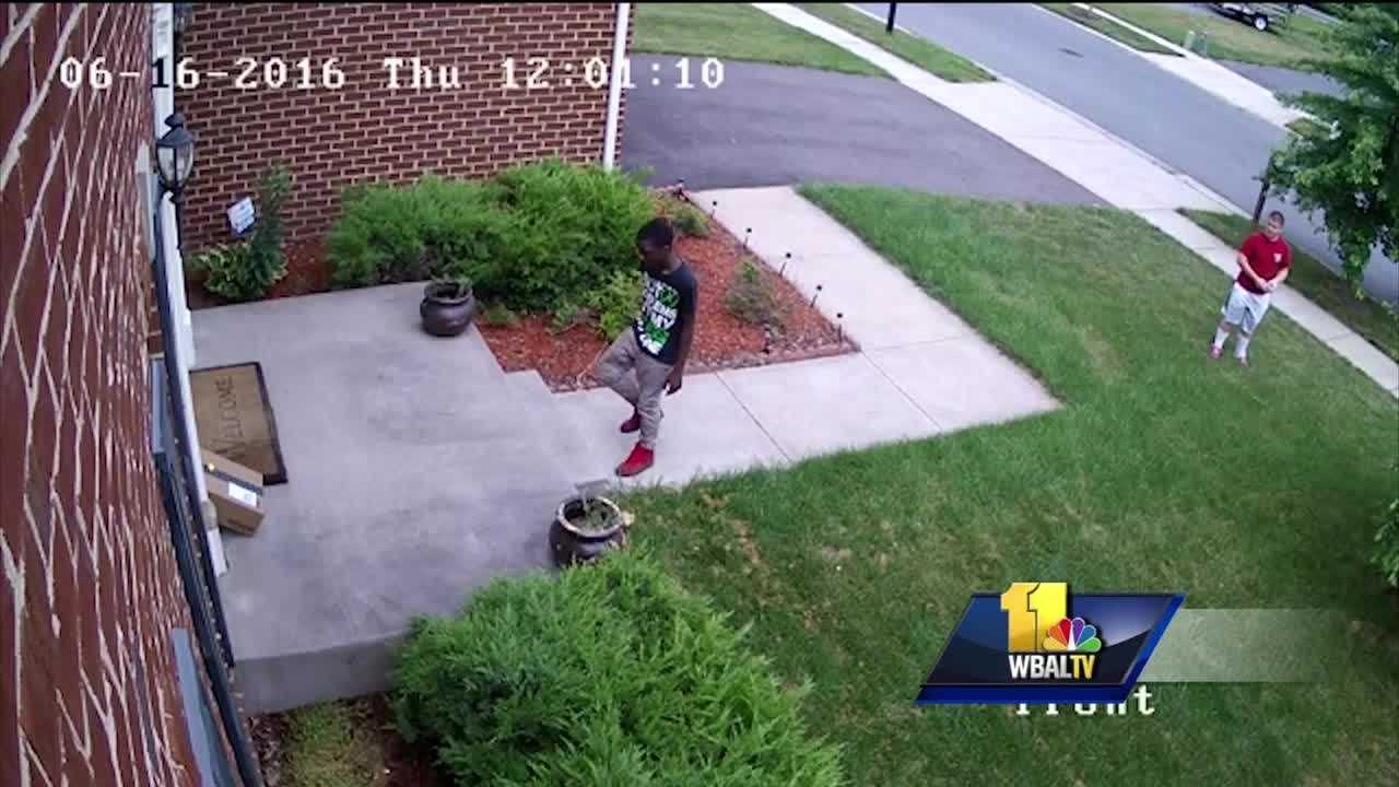Two young children are seen on video stealing a package from a home in Anne Arundel County. Police are trying to find the culprits. A security camera caught two boys stealing a package on June 16 from Adegbite's porch on Shillelagh Drive in Severn. A neighbor returned the open box, which contained items Adegbite bought for her 4-year-old's birthday party.