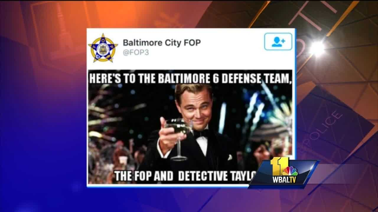 "Baltimore's police commissioner and City Council president are criticizing the police union over tweets sent out by the Fraternal Order of Police Lodge No. 3 a day after the acquittal of police Officer Caesar Goodson in the death of Freddie Gray. The FOP tweets drew swift and negative reaction. The tweet shows a photo of actor Leonardo DiCaprio raising a Champagne glass. Text over the photo reads, ""Here's to the Baltimore 6 defense team, the FOP and Detective Taylor."""