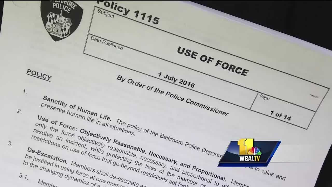 "One of the Baltimore Police Department's most-scrutinized policies just got a major overhaul. Baltimore Police Commissioner Kevin Davis called for the Use of Force Policy to be updated last fall. He unveiled the results Wednesday in a 14-page document. The shift in thought is clear from the first item on the very first page, the ""sanctity of human life."" Davis said the changes were made with the safety of officers in mind, changes that will make the Police Department more effective."