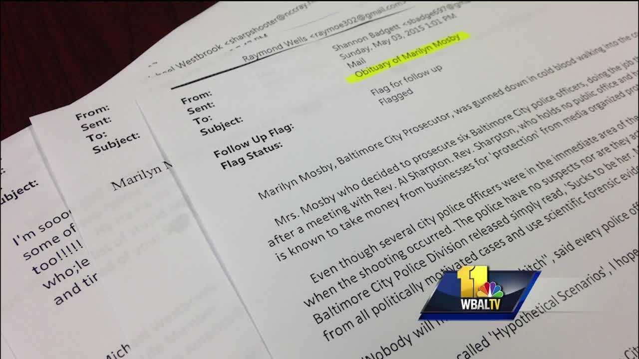 Hate mail and threats against Baltimore City State's Attorney Marilyn Mosby has led to an increase in her security detail, the 11 News I-Team has learned. The 11 News I-Team obtained a sample of the threatening e-mails through a Public Information Act request to the Baltimore City State's Attorney's Office. One e-mailer submitted two fake news accounts detailing the demise of Mosby and her husband, Baltimore City Councilman Nick Mosby.