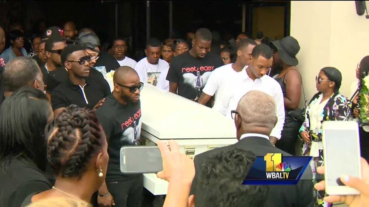 """A popular Baltimore rap artist and a victim of the city's violence was laid to rest Friday. Sadness about the death of Tyriece """"Lor Scoota"""" Watson was matched by calls for action and unity. The funeral was, in part, a celebration of his life, and a call for change. An estimated 900 people converged at the Empowerment Temple church in northwest Baltimore to pay last respects to Lor Scoota."""