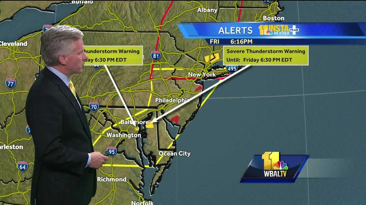 Chief Meteorologist Tom Tasselmyer shows where severe storms are moving through Maryland Friday night.