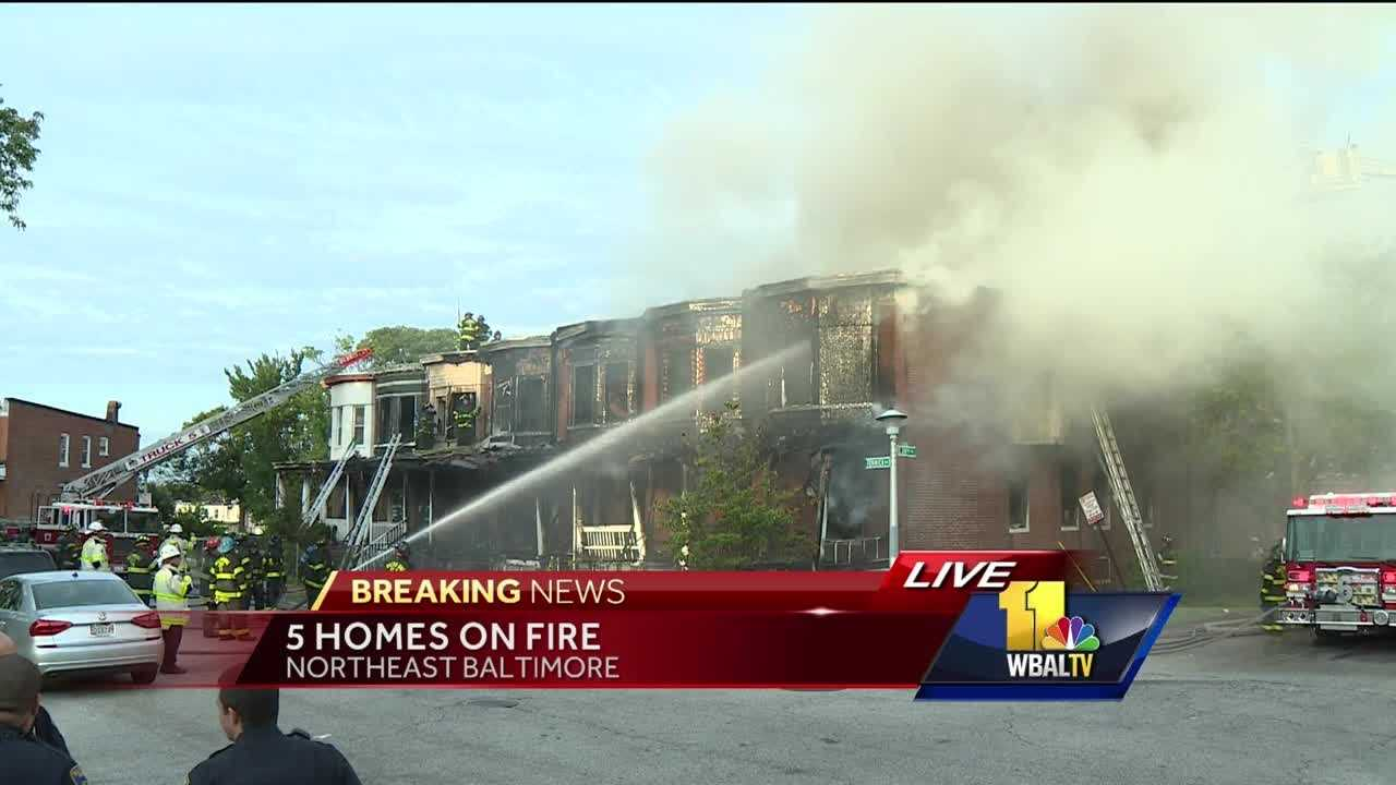 Crews are battling a two-alarm fire in northeast Baltimore early Monday.