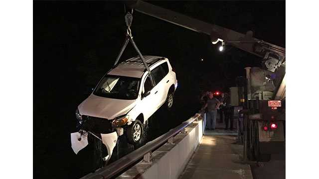 A 27-year-old Severna Park woman on Tuesday escaped injury after the vehicle she was driving in ended up in the Magothy River in Pasadena.