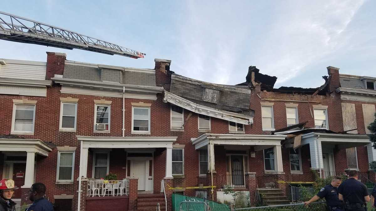 Three families were displaced Thursday evening after their homes partially collapsed. Photo courtesy of Baltimore City Fire.