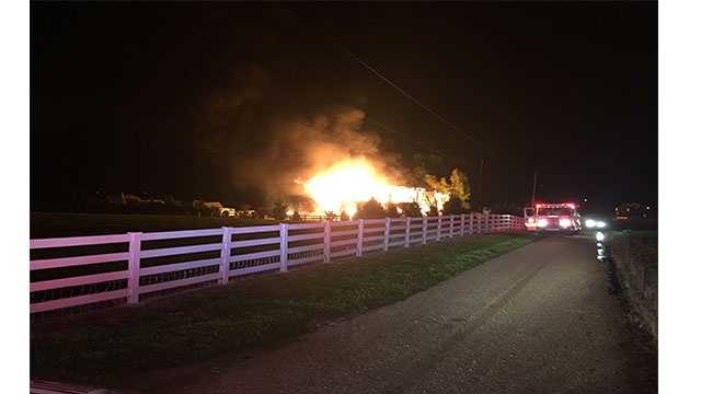 A barn was destroyed during an early-morning two-alarm fire Monday in southern Anne Arundel County. Fire officials said crews responded at 1:45 a.m. to the fire on the 200 block of Farmhouse Lane.