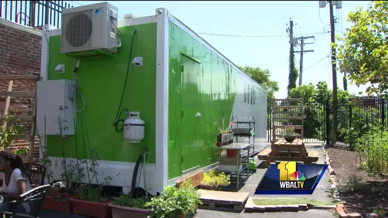 Tucked away in an east Baltimore parking lot is a green and white shipping container. Believe it or not, there's a farm inside.