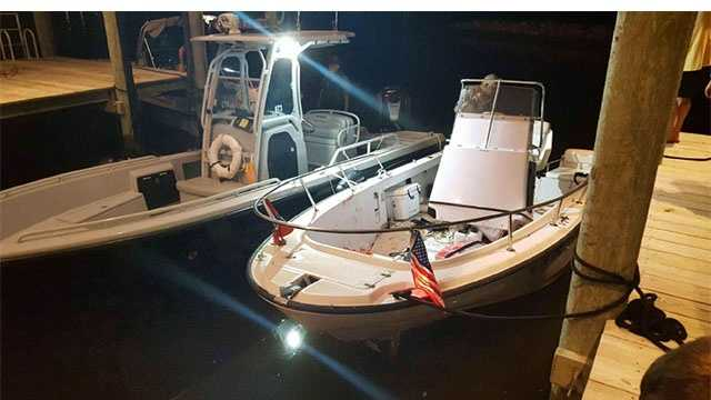 Pictured here is a boat involved in a crash Sunday in Whitehall Creek in Annapolis where one man died and two others were injured.