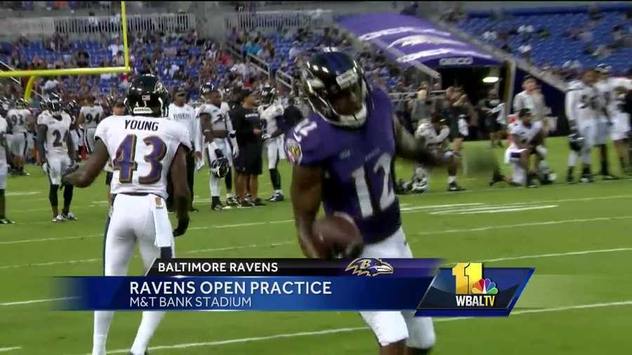 Ravens receiver Mike Wallace pulls in a reception during practice at M&T Bank Stadium.