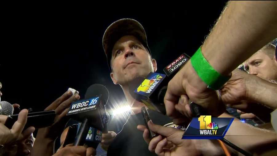 Ravens coach John Harbaugh addresses the media after practice at M&T Bank Stadium.