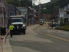 Ellicott City's Main Street remains closed to the public Tuesday.