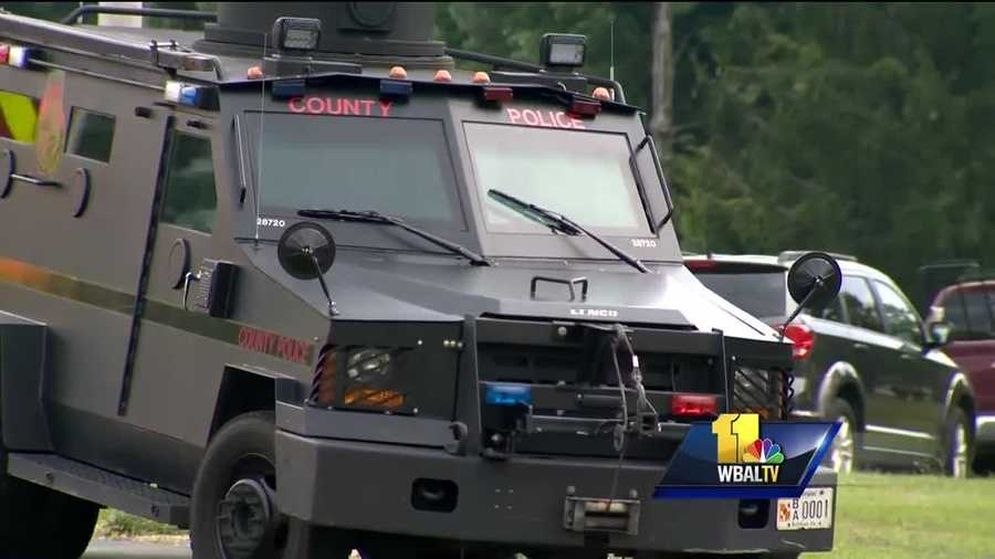 Baltimore County police are on the scene Monday of a barricade situation at the Carriage Hill Apartments in Randallstown.