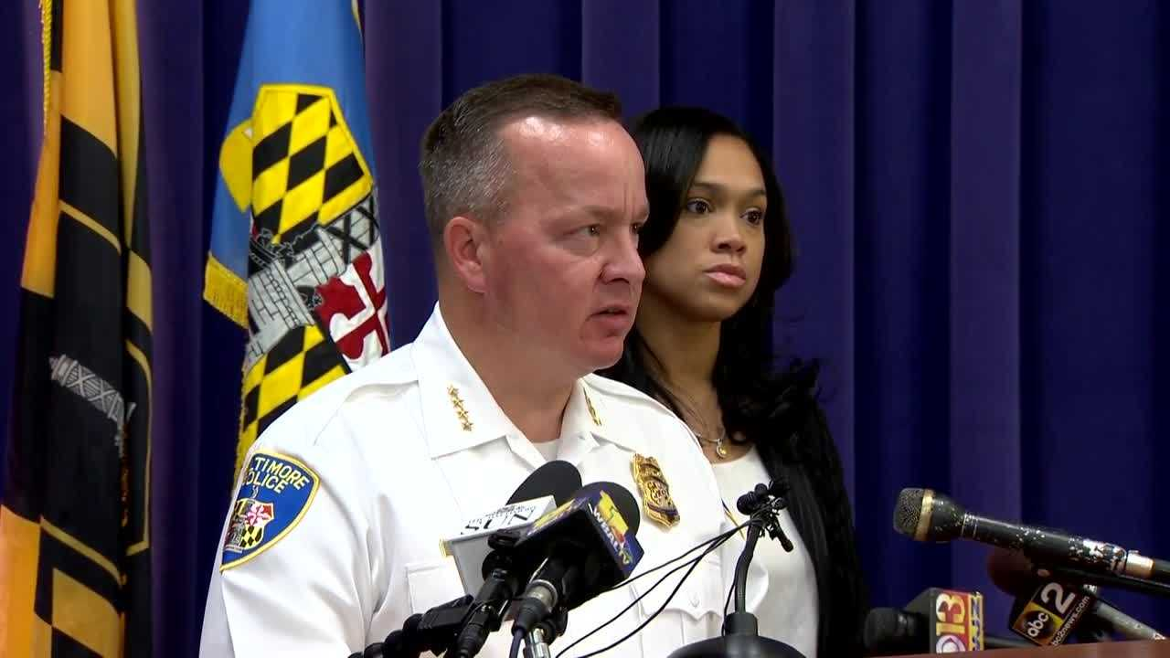 Baltimore police Commissioner Kevin Davis and State's Attorney Marilyn Mosby offered statements of support Monday to the officers who testified in the case against a fellow officer.