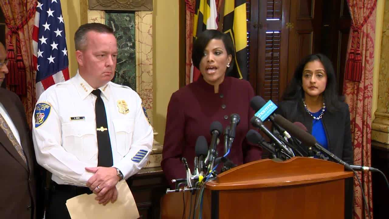 City police Commissioner Kevin Davis, Mayor Stephanie Rawlings-Blake and Vanita Gupta, the head of the civil rights division for the Justice Department, address the release of a report that highlights needs for reforms in the Baltimore Police Department.