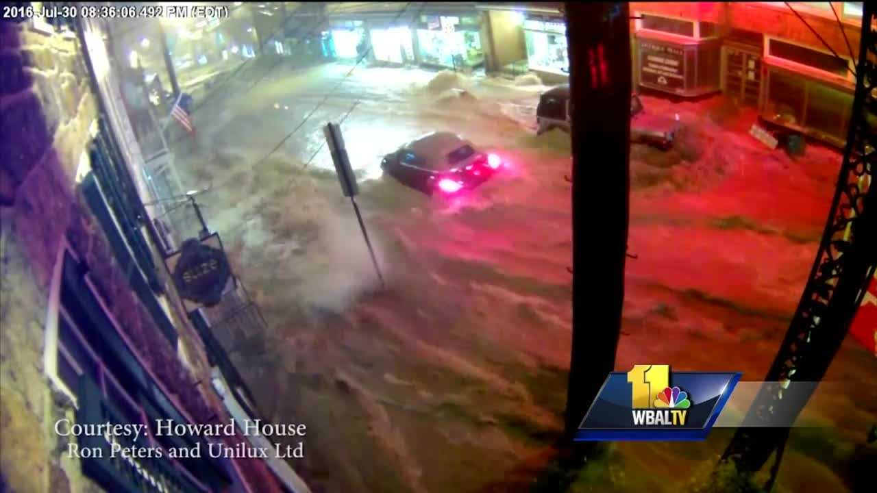 New video obtained by 11 News shows how quickly the flood waters destroyed Ellicott City. The security camera of a small business on Main Street offers new pictures from three different views of the flood waters quickly rising.