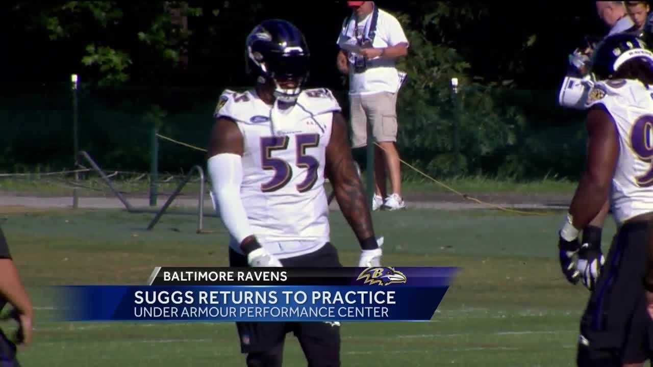 Ravens OLB Terrell Suggs practices for the first time in 2016 after suffering a season-ending injury in the first game of the 2015 season.