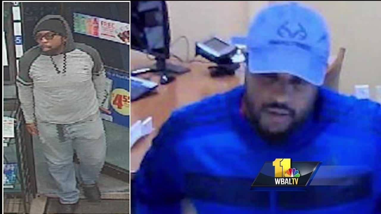 The FBI has released surveillance pictures of suspects wanted for a string of bank and convenience store robberies. Investigators are looking into at least eight robberies that stretch from Baltimore City into Baltimore and Harford counties. The FBI warns that the men should be considered armed and dangerous