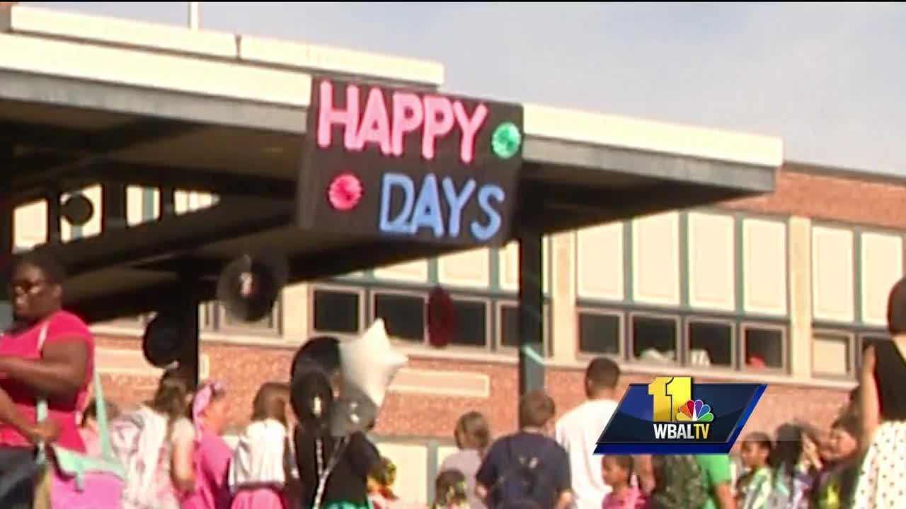 From hot days to happy days, that's the first-day theme for students returning to school in Harford County. The principal and staff at one school took a page from the past to promote the promise of the future.
